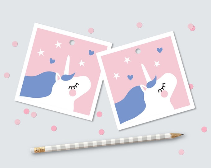 Unicorn Favor Tags for Birthday Party / Girl's Birthday Party Unicorn Swing tags / Unicorn Thank you Tags / DIY Unicorn Party Printable