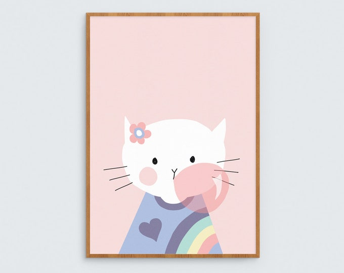 Cute white cat blowing a bubble // girls wall art print with rainbow kitty // hand drawn kids art for girls room cute pussy cat/kitty
