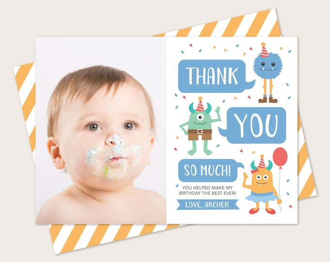 Monster  Thank You Card With Photo
