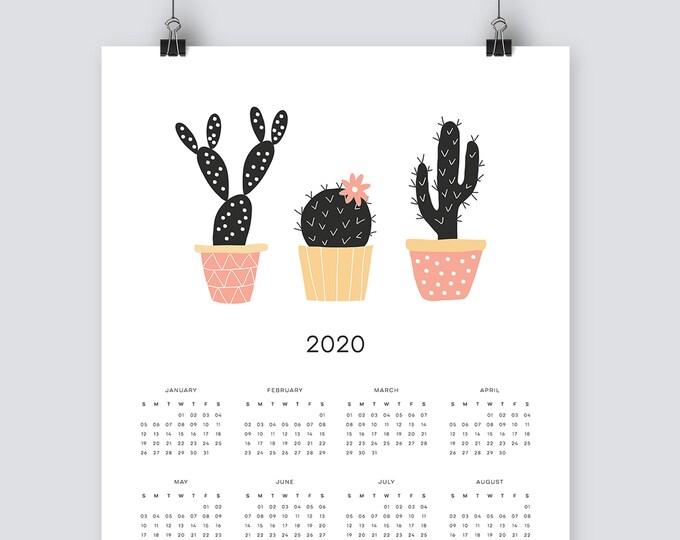 2020 cactus Calendar