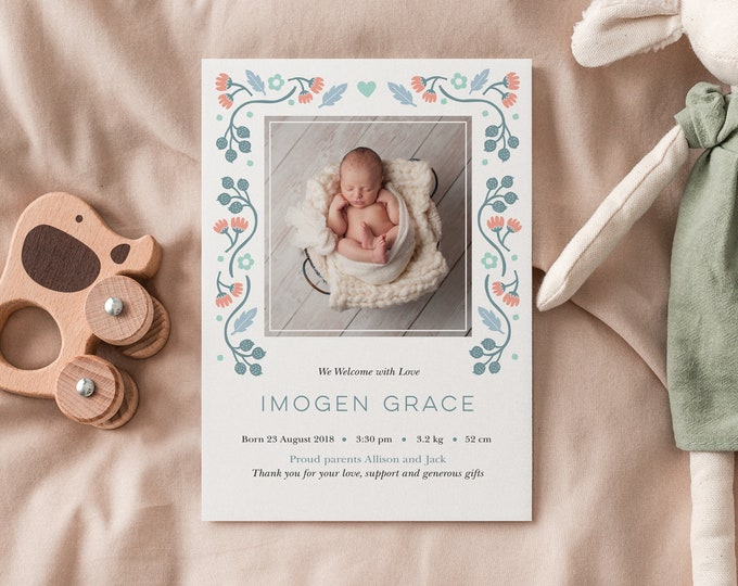 Newborn Birth Announcement card / Newborn Baby Girl / Floral Baby Thank You Card / Digital File, Printable Card / Photo Girl thank you card