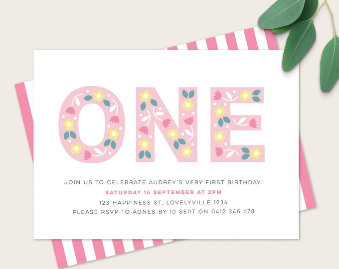 Beautiful Folk inspired 1st Birthday Invitation / Girls first birthday Printable Invitation / Floral 1st Birthday in pink / Digital Invite