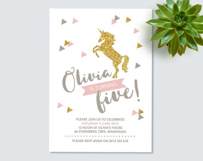 Unicorn Birthday Invitation, gold glitter and pink invitation, girls birthday invite, printable invitation, Gold glitter unicorn invitation