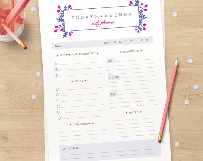 'Todays Agenda' Daily Planner (INSTANT DOWNLOAD)