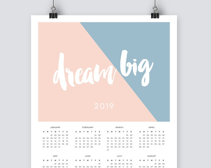Modern 2019 wall Calendar in A3 or A4