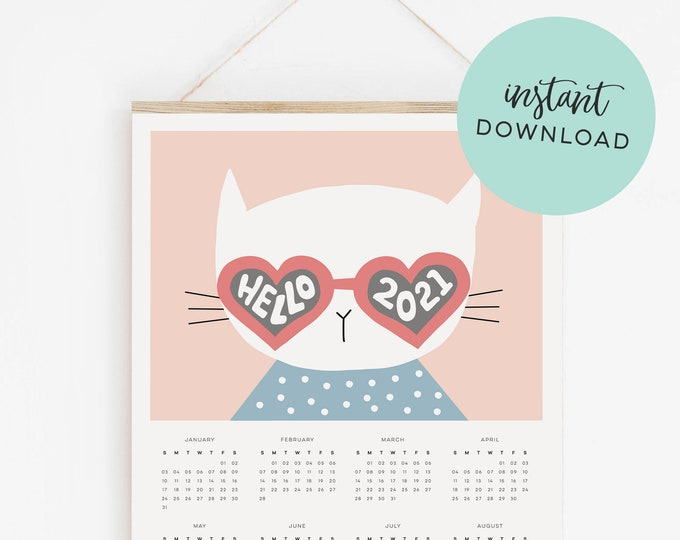 Instant Download - 2021 Cat Calendar