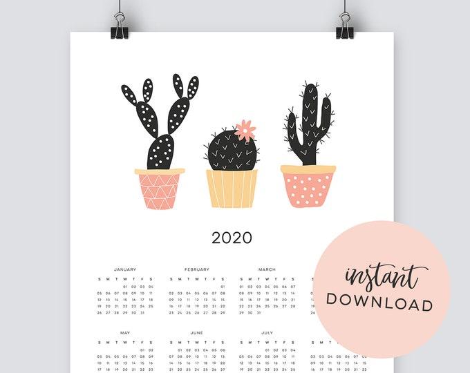 Instant Download - 2020 Cactus Calendar