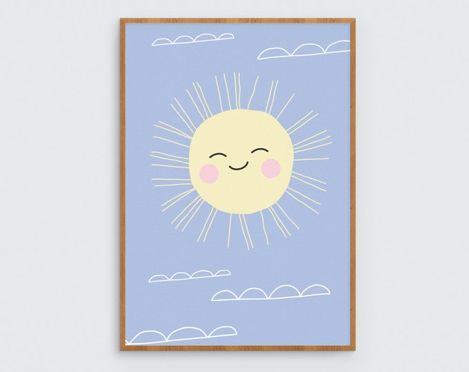 Happy Sun kids art print