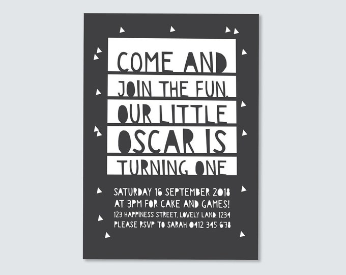 Boy's 1st birthday Invitation / paper cut Invitation / kids party / black and white triangles / boys geometric first birthday Invitation