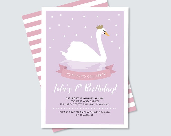 Swan princess birthday party invitation in purple and pink, 2nd, 3rd, 4th 5th, 6th invitation for any age party printable to print yourself