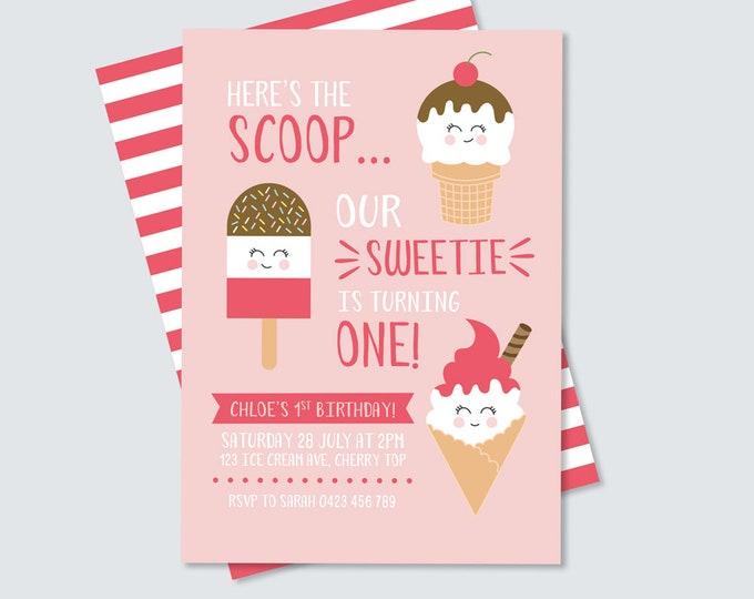 So Sweet Ice Cream Invitation for Girl's Birthday Party / Here's the Scoop Ice Cream Invitation / She's Sweet Invitation for 1st Birthday