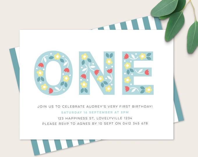 Girl's first birthday Party Invitation / Folk Floral 1st Birthday Invitation / poppy floral kids party / Girl's blue floral Invitation / DIY