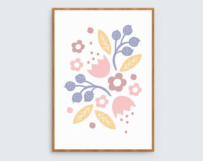 Pink, yellow and purple flowers art print 1