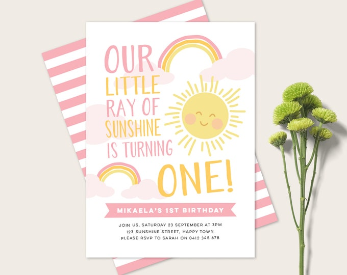 Rainbow and Sunshine 1st Birthday Invitation / Rainbow party Invitation / A little ray of sunshine birthday Girl's first birthday Invitation