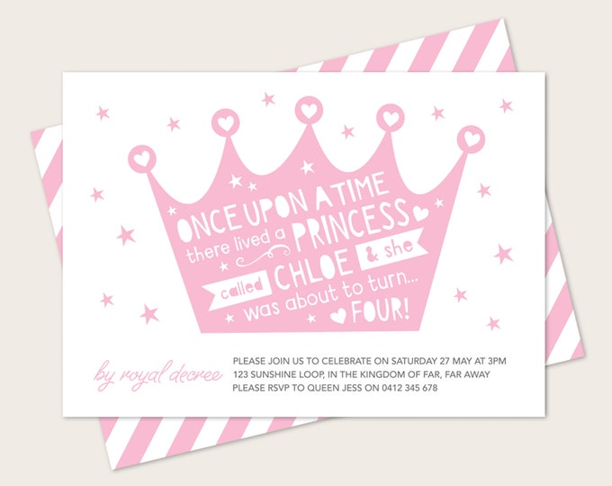 Crown Princess Birthday Invitation // Any age printable invitation // Once upon a time princess invitation // fairy tale birthday invitation