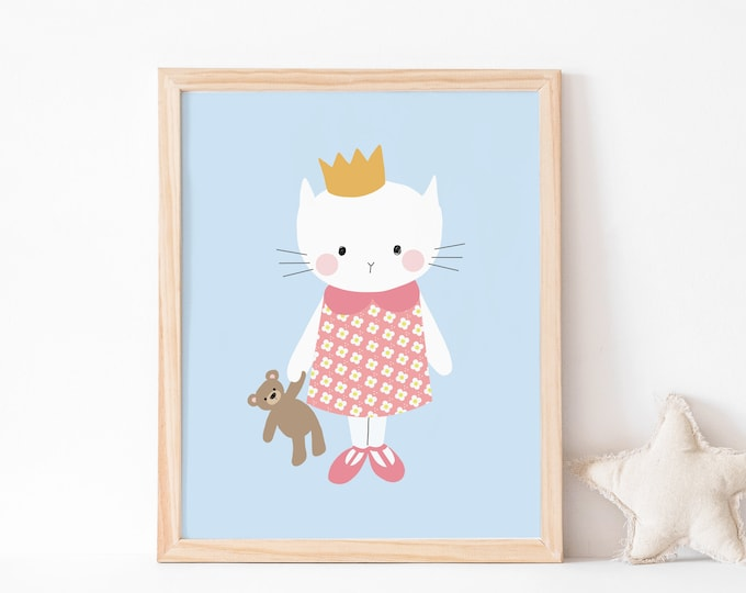 Kitty and teddy bear art print