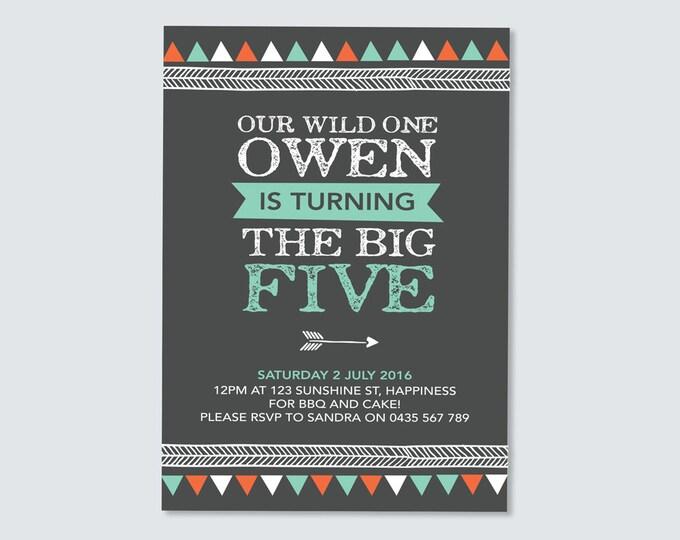 Boys Tribal invitation (Digital File) // I customise for you to print // Any Age! // chalkboard triangle/geometric/tribal invite