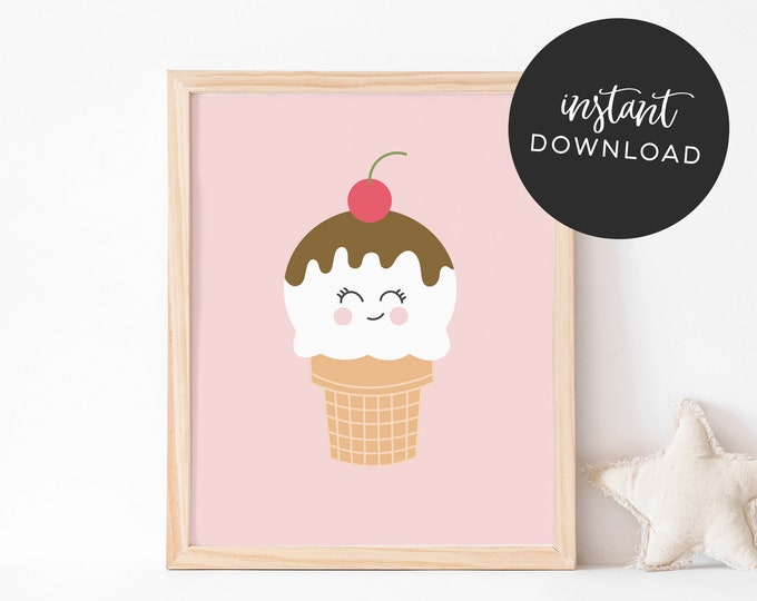 Pink Ice Cream Art Print (INSTANT DOWNLOAD)