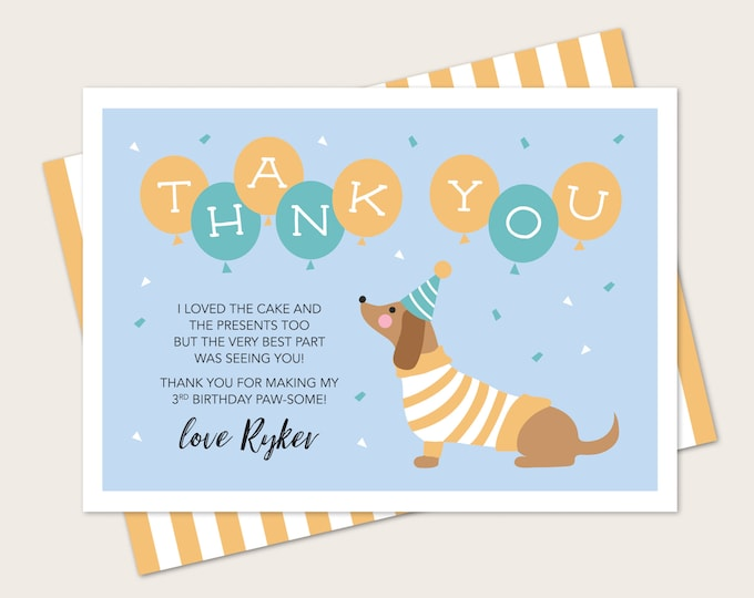 Dachshund dog Kids Thank You card for Birthday - Any Age! Blue