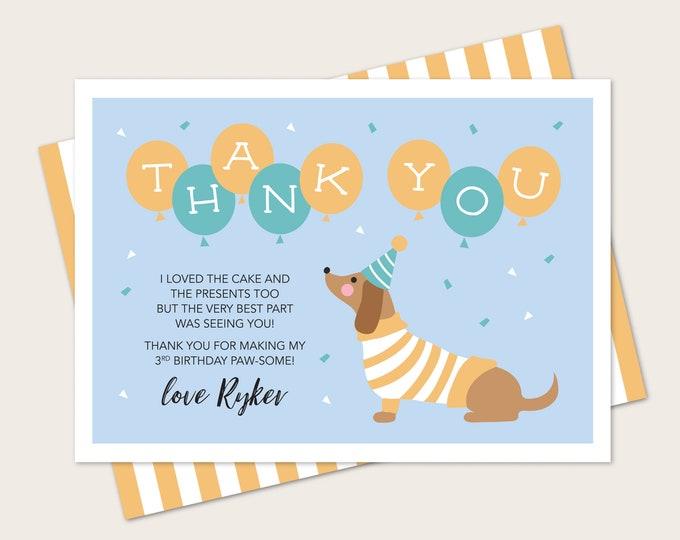 Dachshund dog Kids Thank You card for Birthday - Any Age! Blue