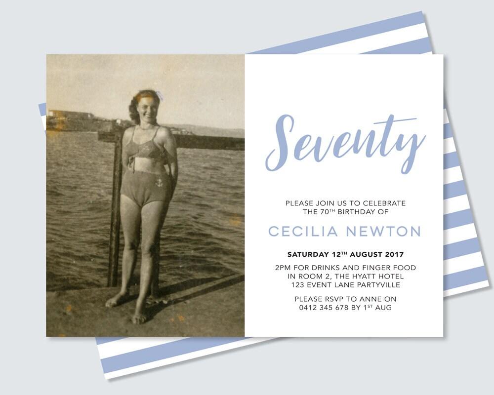 photo 60th birthday invitation card any age sixtieth birthday