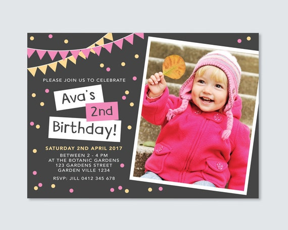 Girls 2nd Birthday Invitation Card Pink And Yellow Bunting And Confetti Print Yourself Chalkboard Style Girls Birthday Invitation Card
