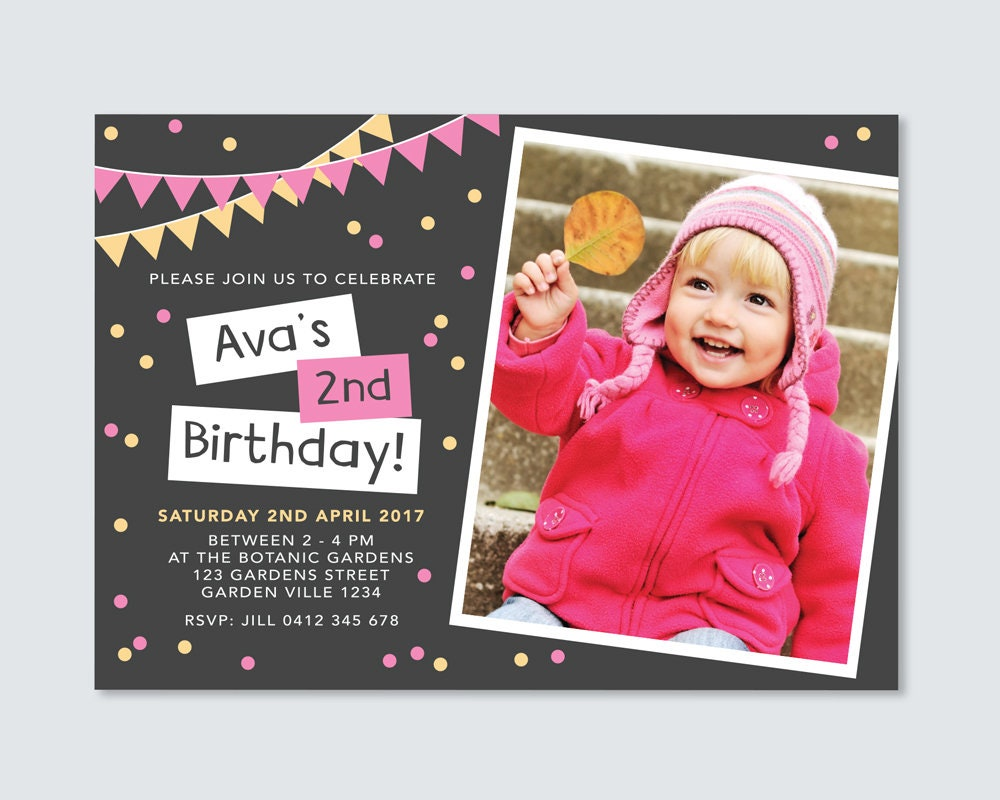 girls 2nd birthday invitation card pink and yellow bunting and
