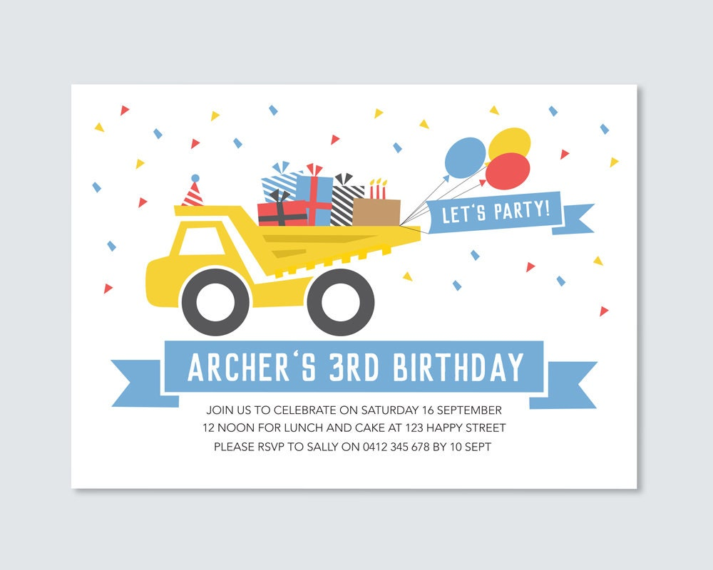 Dump Truck Birthday Party Invitation Card Double Sided Printable