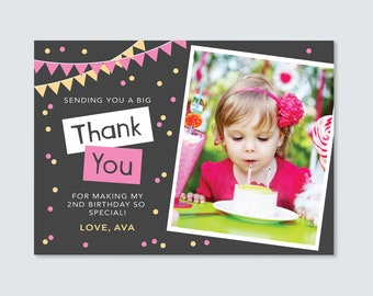 Girls Birthday Photo Thank you card // ANY AGE // I customise for you to print // bunting and confetti