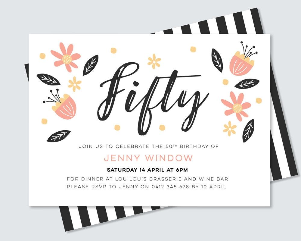 Feminine 50th birthday party invitation - hand drawn botanical ...