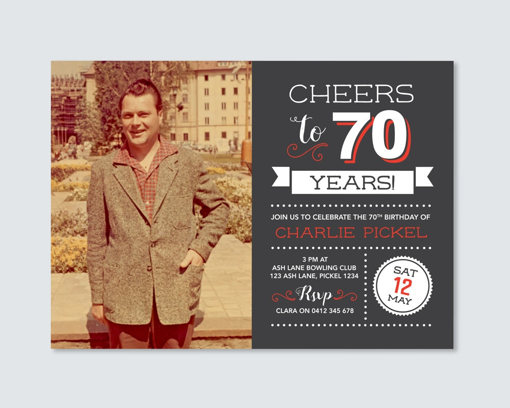 Mens 70th Birthday Invitation Cheers To 70 Years With Photo 100th 90th 80th 60th 50th 40th Invite