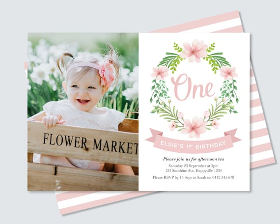 Girls Pretty Floral First Birthday Photo Invitation Card Digital File Girl S Floral Wreath 1st Birthday Invitation In Pink And Green
