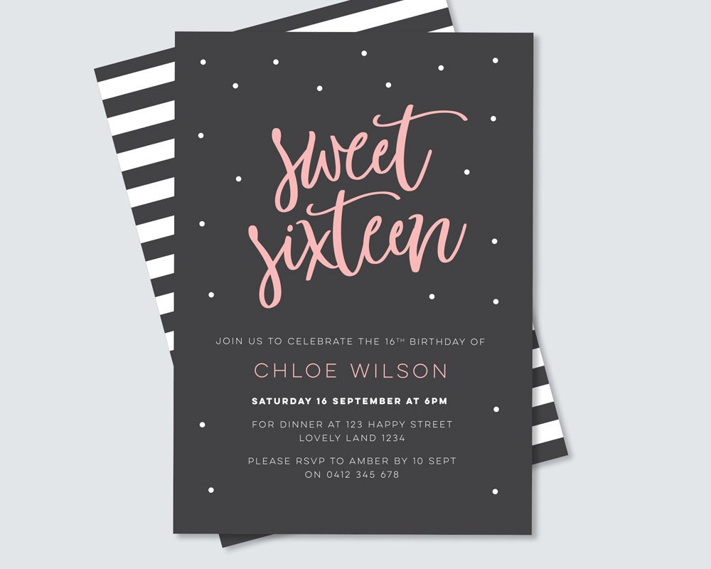 Sweet sixteen birthday party invitation digital file for you to sweet sixteen birthday party invitation digital file for you to print yourself 16th birthday party stylish pink and black design solutioingenieria Image collections