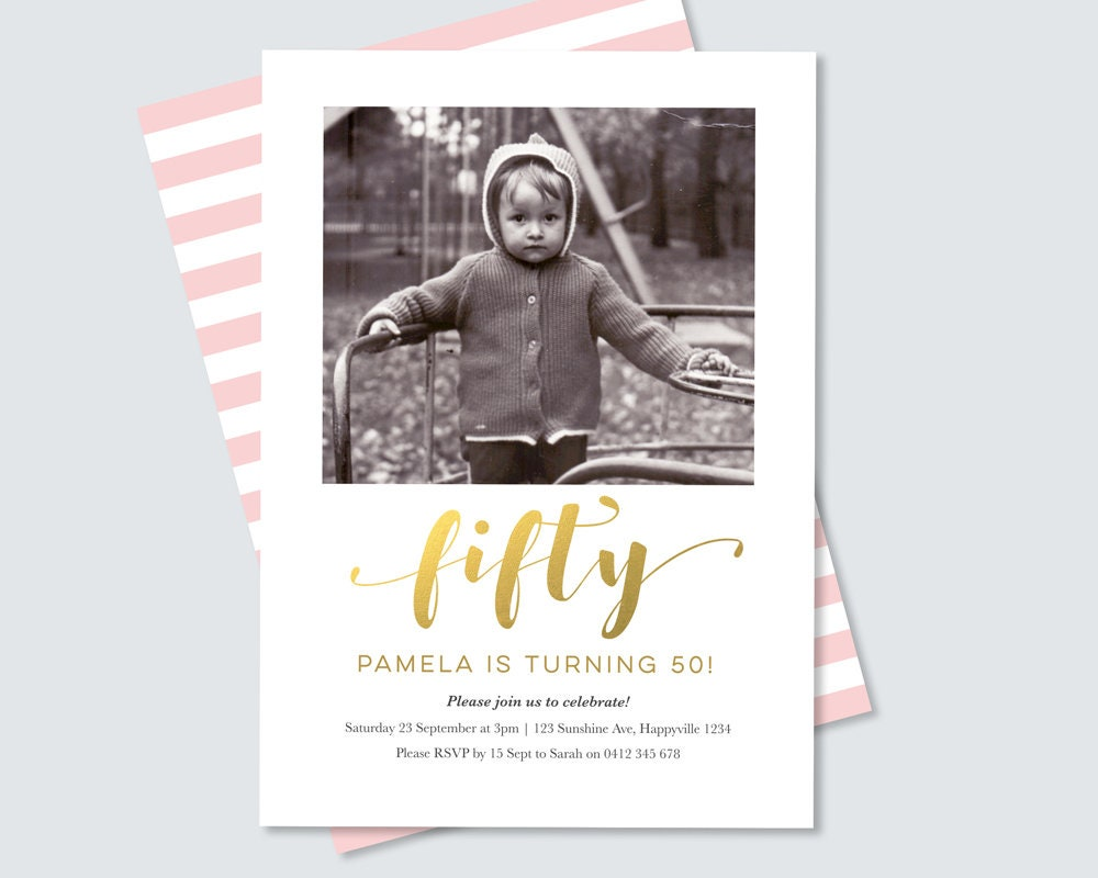 Gold and pink 50th Birthday Invitation! Modern and elegant fiftieth ...