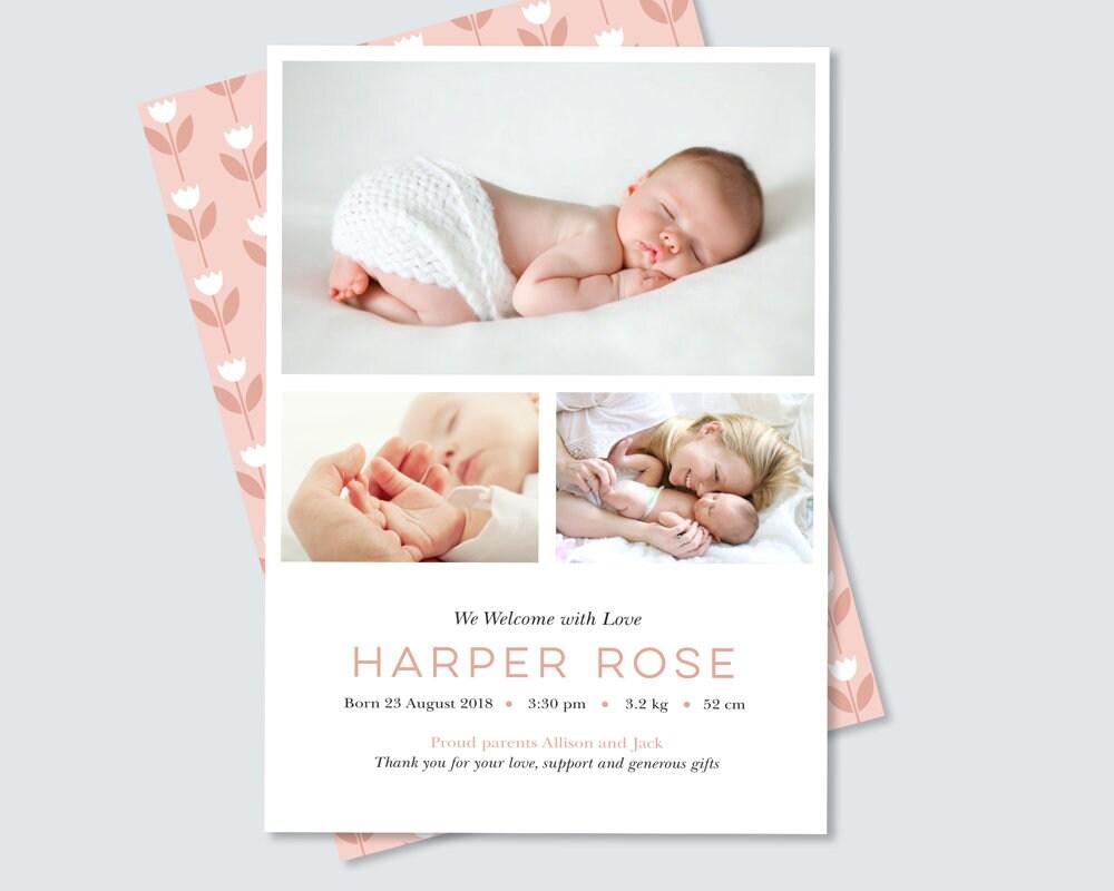 Newborn Announcement Card Girl S Floral Birth Announcement