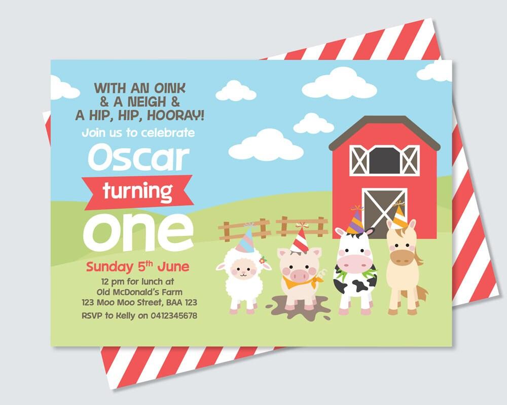 farm animal kids birthday invitation lamb pig cow horse and