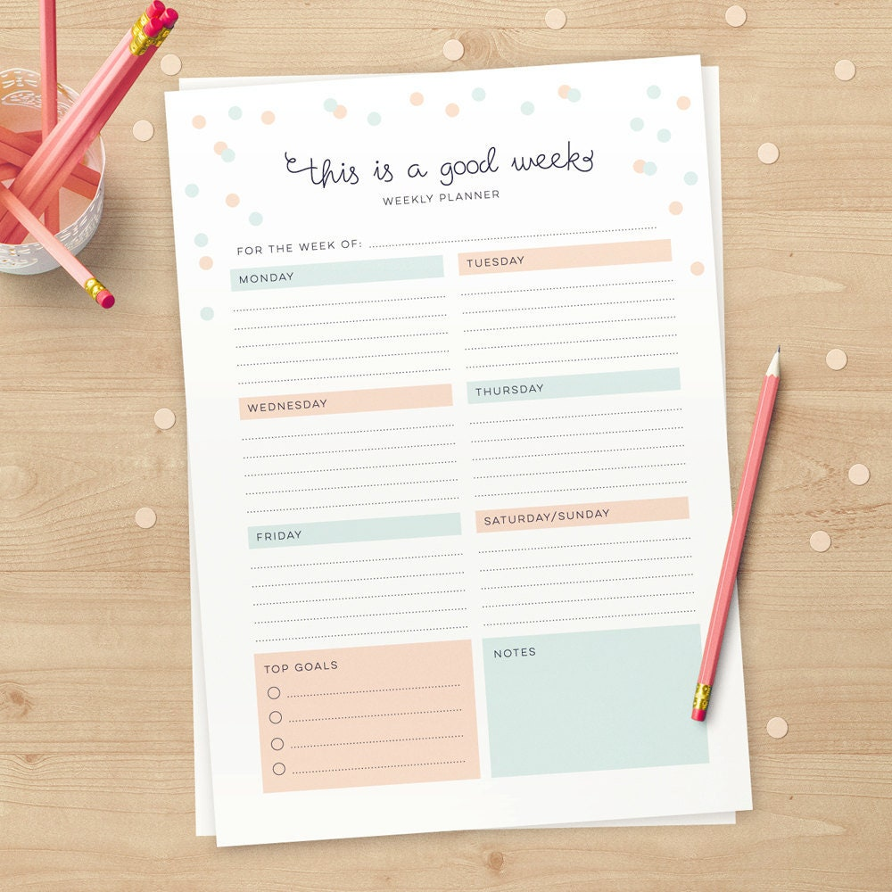 cute weekly downloadable planner pages in a4 and us letter
