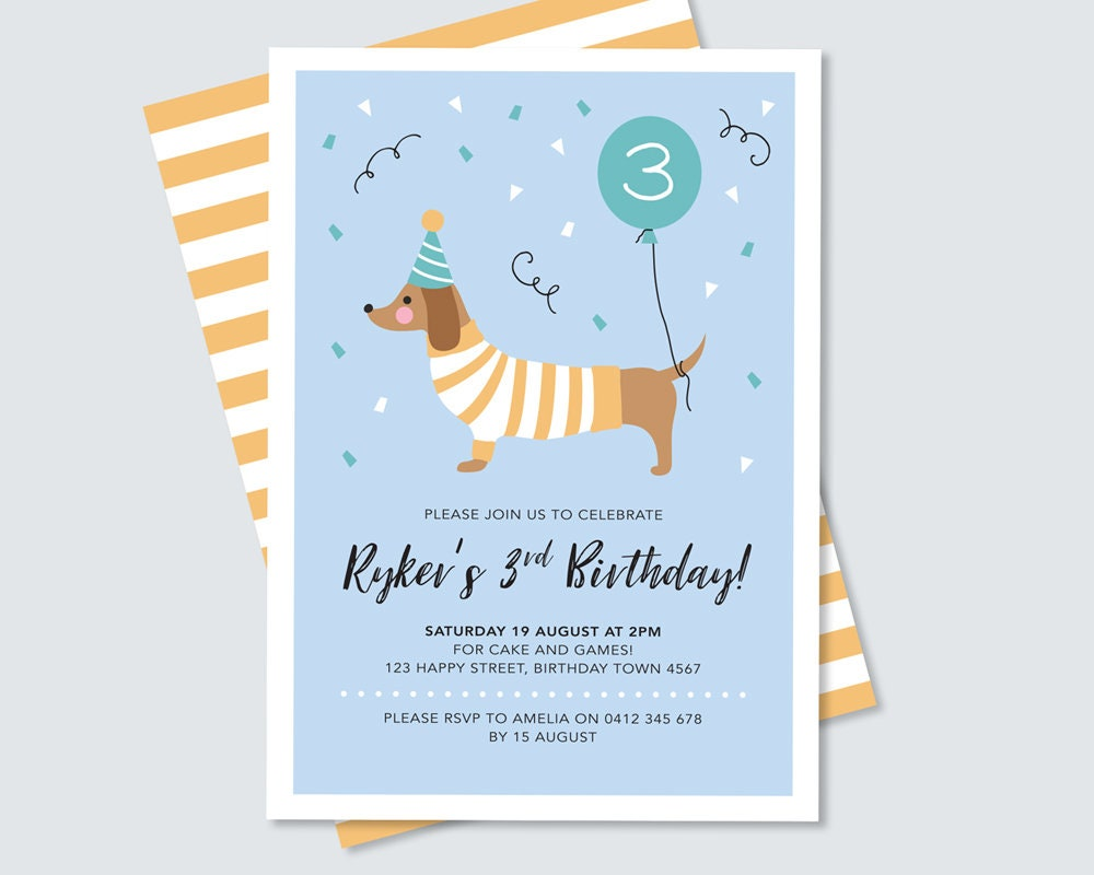 Dog Birthday Invitation Dachshund Kids