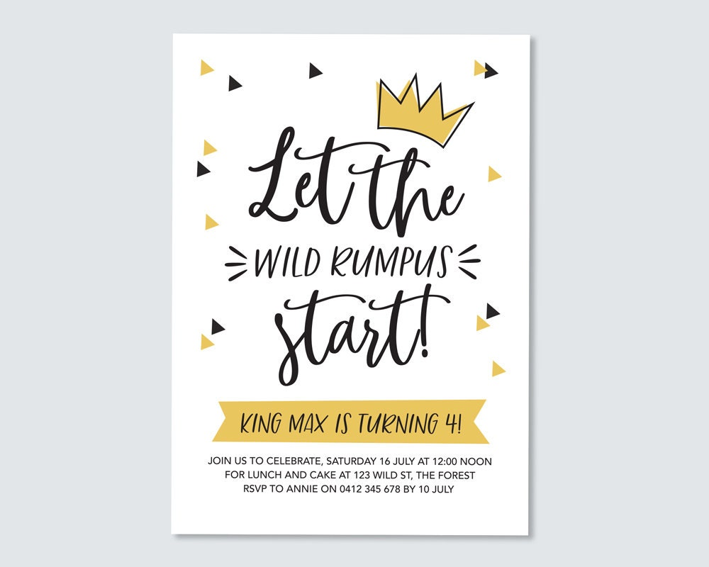 image relating to Let the Wild Rumpus Start Printable known as Birthday Invitation Wherever the wild components are / children birthday