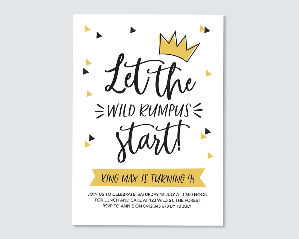 image relating to Let the Wild Rumpus Start Printable named Birthday Invitation The place the wild elements are / little ones birthday