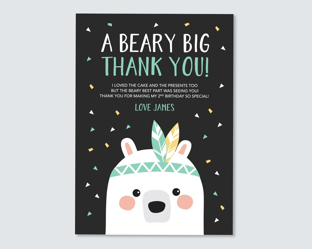 Bear Thank You Card Kid S Birthday Thank You Woodland Party