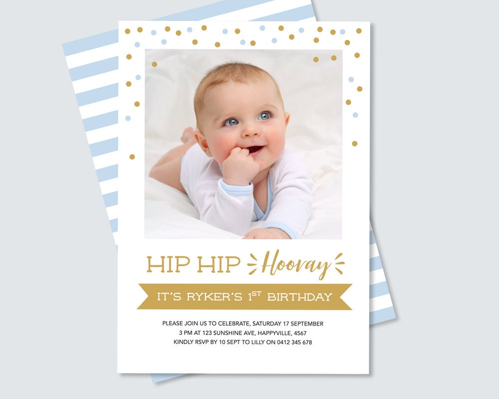 Boys 1st Birthday Invitation with photo, features a striped back and ...