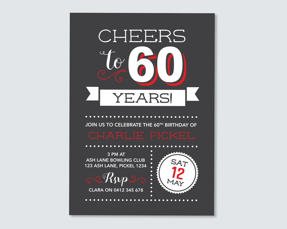 Cheers To 60 Years 60th Birthday Invitation
