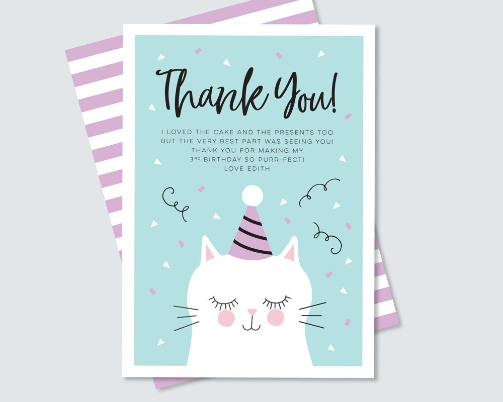Kitty Cat Thank You Card For Kids Birthday Party Teal And Purple