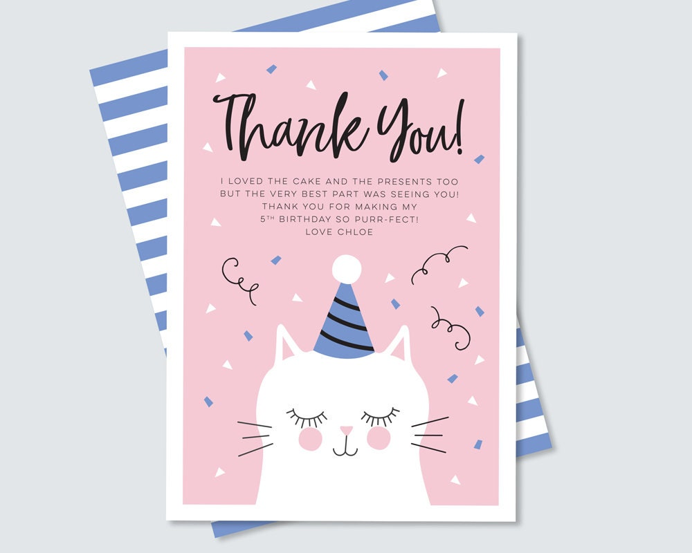 Thank You Card For Kids Cat Birthday Party Any Age Wording Can