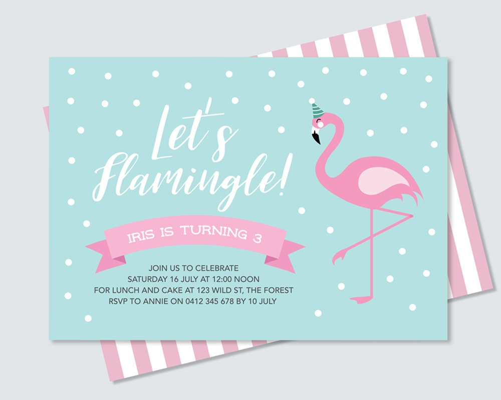 pink flamingo birthday party invitation card to print yourself