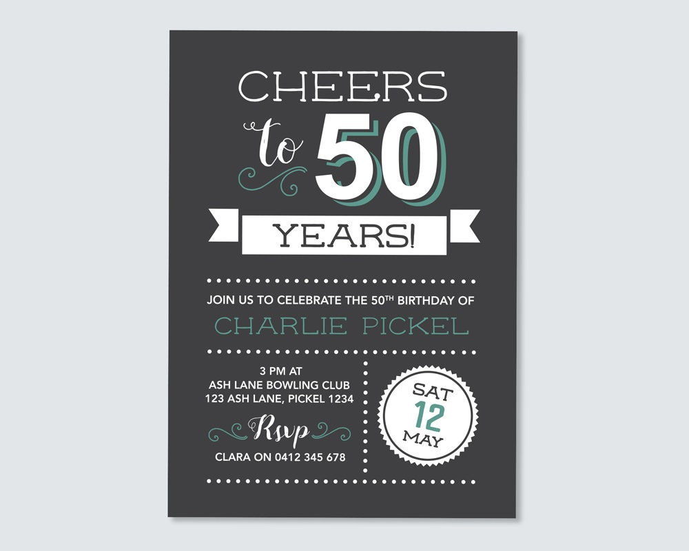 Cheers to 50 years! 50th Birthday Invitation - for any age ...