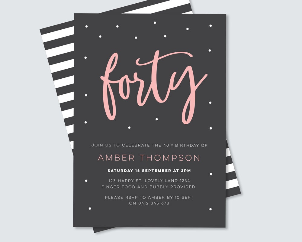 White Stripe Back Pink And Black Modern 40th Birthday Invitation For Her Gallery Photo