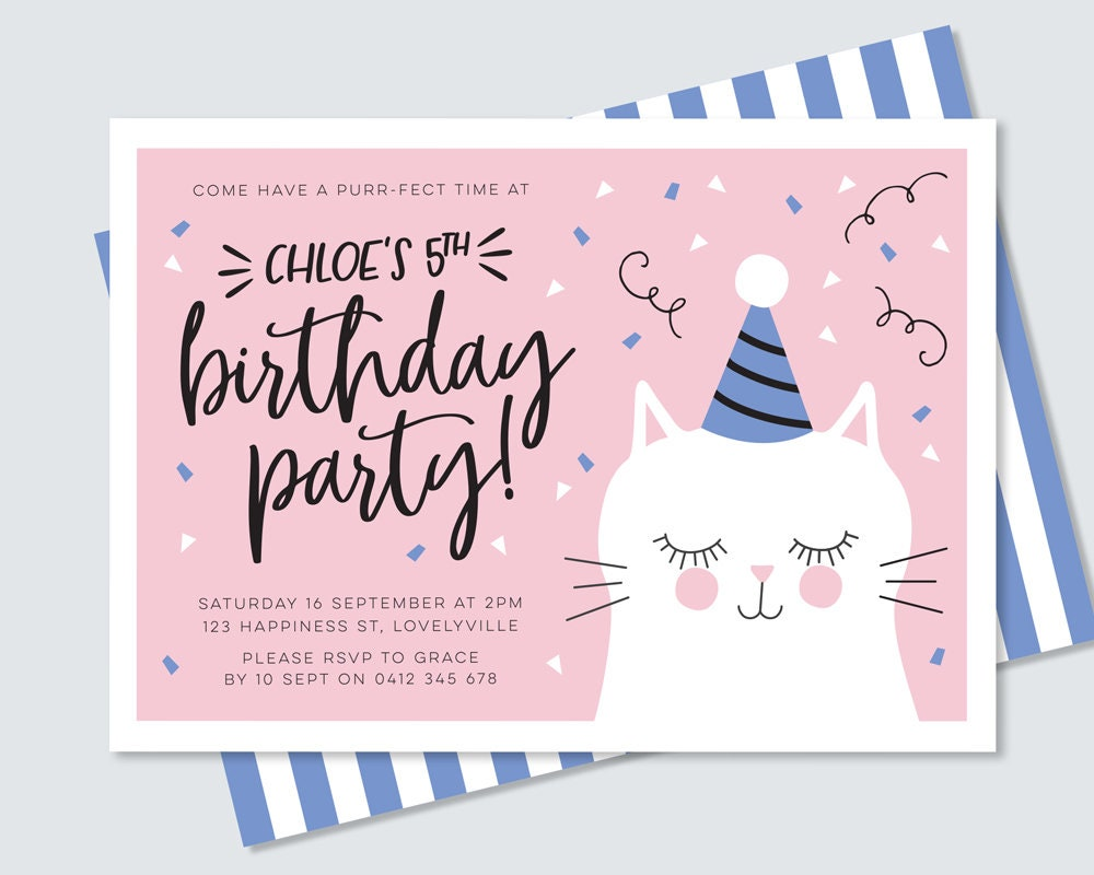 Kitty cat birthday invitation in pink and blue purr fect cute kitty cat birthday invitation in pink and blue purr fect cute illustrated cat party invitation girls kitten 5th birthday pink and blue filmwisefo