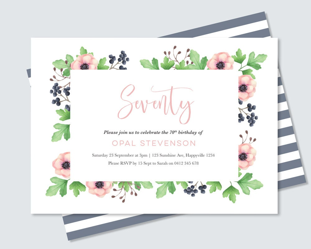 Floral 70th birthday invitation any age digital file for you to floral 70th birthday invitation any age digital file for you to print yourself feminine watercolour floral invitation for women 70th filmwisefo